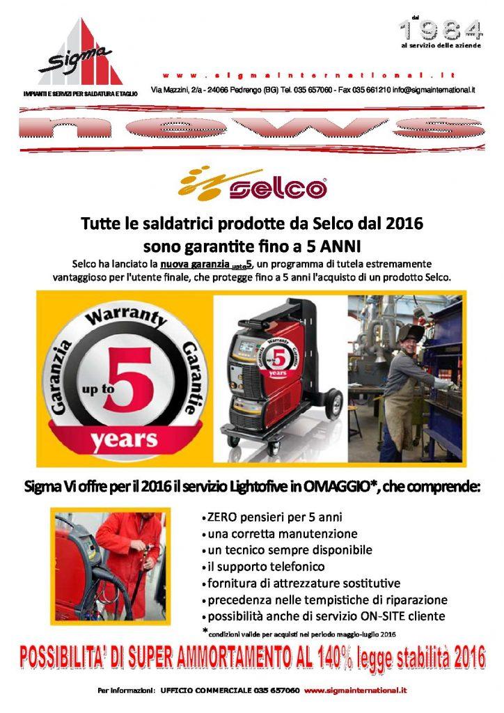 Tutte le saldatrici prodotte da Selco dal 2016 sono garantite fino a 5 ANNI